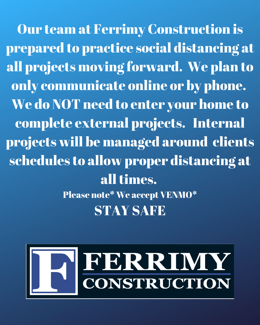 Don't forget to follow us on Instagram @ferrimyroofingconstruction copy